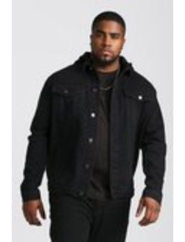 Big And Tall Denim Jacket With Removable Hood by Boohoo Man