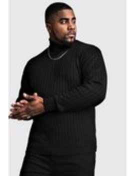 Big And Tall Roll Neck Knitted Jumper by Boohoo Man