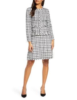 Check Long Sleeve Peplum Tweed Dress by Julia Jordan