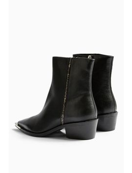 Andy Leather Black Point Boots by Topshop