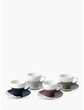 Royal Doulton Coffee Studio Espresso Cups And Saucers, White/Multi, 110ml, Set Of 4 by Royal Doulton