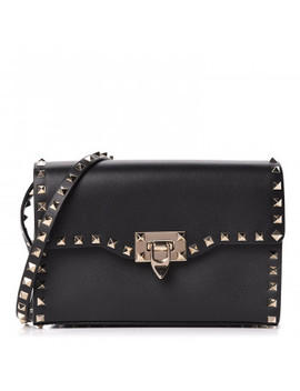 Valentino Vitello Medium Rockstud Flap Shoulder Bag Black by Valentino