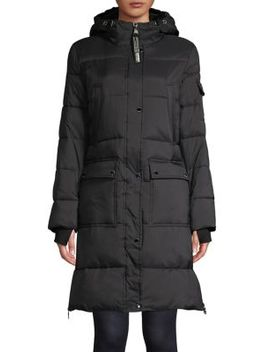Faux Fur Lined Long Parka Jacket by Calvin Klein