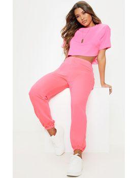 Neon Pink Basic Cuffed Hem Jogger by Prettylittlething