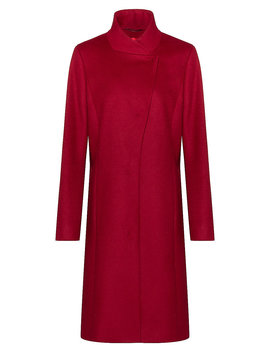 Asymmetric Front Coat In A Wool Blend With Cashmere Asymmetric Front Coat In A Wool Blend With Cashmere by Boss