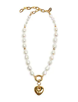 Heartbreak Goldplated & Freshwater Pearl Pendant Necklace by Lizzie Fortunato