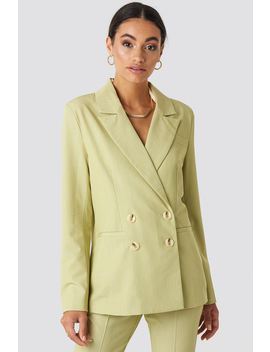 Straight Fit Double Breasted Blazer Green by Nakdclassic