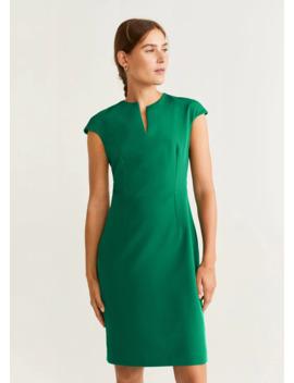 Текстуриран рокля с права кройка by Mango