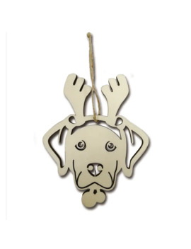 Laser Cut Dog With Antlers Wooden Ornament By Art Minds® by Artminds