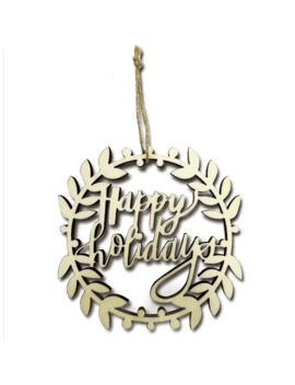 Laser Cut Happy Holidays Wreath Wooden Ornament By Art Minds® by Artminds
