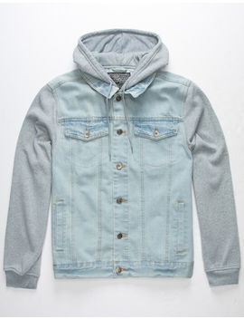 Brooklyn Cloth Knit Sleeve Mens Hooded Denim Jacket by Brooklyn Cloth
