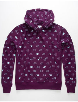Champion Allover Logo Purple Mens Hoodie by Champion
