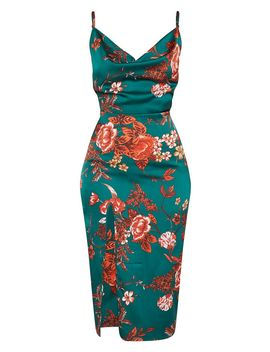 Emerald Green Floral Strappy Satin Cowl Midi Dress by Prettylittlething