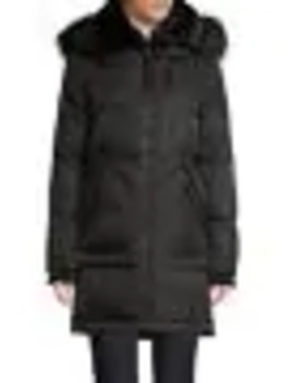 Faux Fur Trim Down Filled Puffer Jacker by Vince Camuto