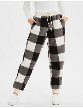 Ae High Waisted Printed Sherpa Jogger by American Eagle Outfitters