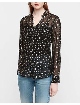 Slim Fit Metallic Star Portofino Shirt by Express