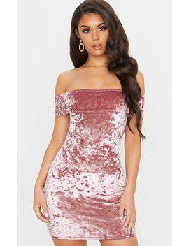 Rose Crushed Velvet Bardot Bodycon Dress by Prettylittlething