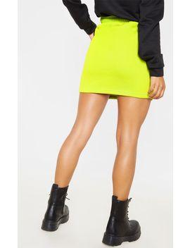 Neon Lime Sweat Drawstring Waist Mini Skirt by Prettylittlething