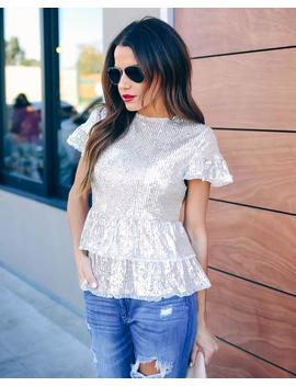 Spark Interest Sequin Tiered Blouse by Vici