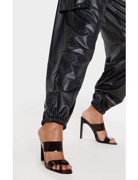 Black Flat Heel Twin Strap Mule Sandal by Prettylittlething