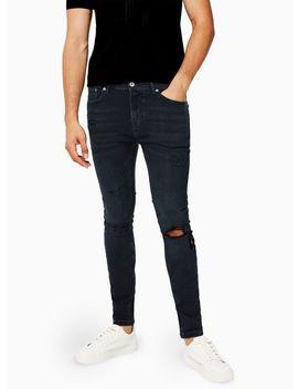 Blue Black Blowout Spray On Jeans by Topman