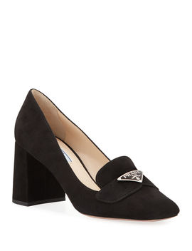 Suede Logo Loafer Pumps by Prada