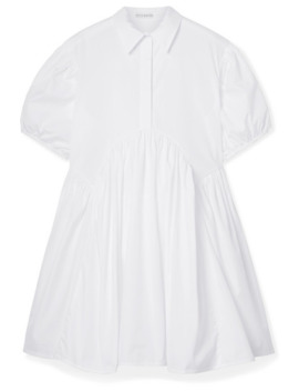 Esther Gathered Cotton Poplin Mini Dress by Cecilie Bahnsen