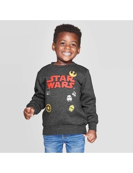 Toddler Boys' Star Wars Patches Crew Fleece Sweatshirt   Charcoal by Star Wars
