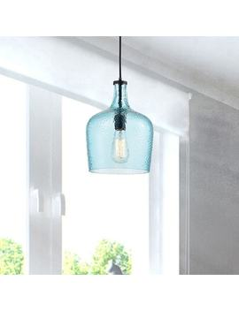 Belinda Mouth Blown Blue Glass Antique Black Pendant Chandelier by The Lighting Store