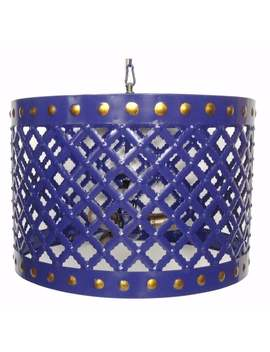 Charismatic Cutout Patterned Metal Chandelier, Blue by Benzara