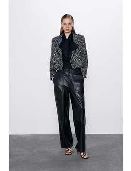 Short Textured Weave Blazer by Zara