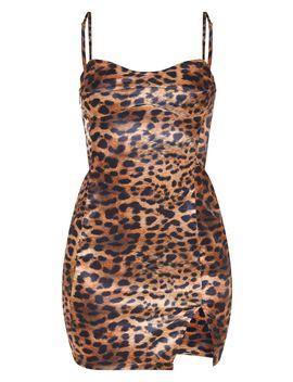 Brown Leopard Print Satin Strappy Cup Detail Split Hem Bodycon Dress by Prettylittlething