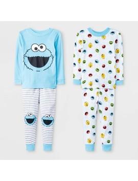 Toddler Boys' 4pc Sesame Street Pajama Set   Blue by Sesame Street