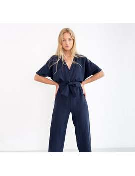 Ready To Ship / Aurora Linen Jumpsuit / Loose Linen Overalls / Linen Romper With Belt by Etsy