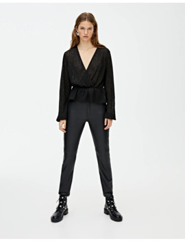 Faux Leather Panelled Trousers by Pull & Bear