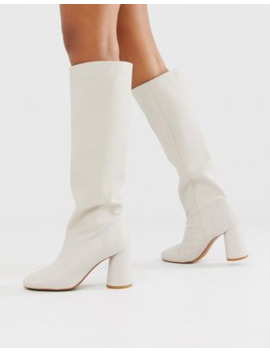 &Amp; Other Stories Tall Leather Boots With Round Heels In Off White by & Other Stories