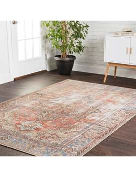 """Traditional Distressed Rust/ Blue Medallion Printed Area Rug   5' X 7'6"""" by Alexander Home"""