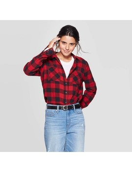 Women's Plaid Long Sleeve Button Down Flannel Top   Universal Thread™ Red by Universal Thread