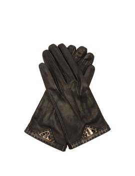 Logo Plaque Leather Gloves by Prada