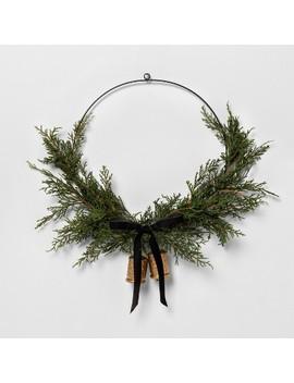 "16"" Faux Cedar Asym Wreath With Bell And Ribbon   Hearth & Hand™ With Magnolia by Hearth & Hand With Magnolia"