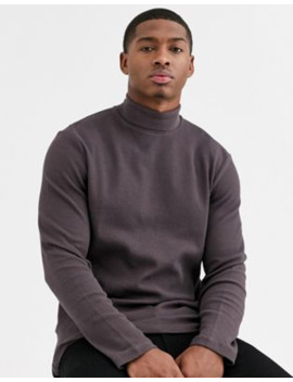 Asos Design Long Sleeve Waffle Roll Neck In Brown by Asos Design