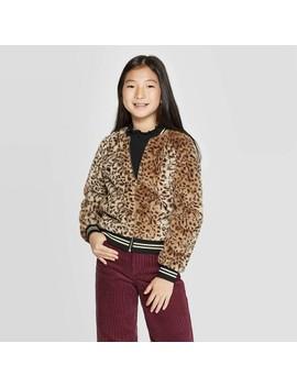 Girls' Faux Fur Animal Bomber Jacket   Art Class™ Brown by Art Class