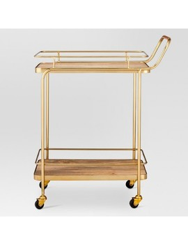 Metal, Wood, And Leather Bar Cart   Gold   Threshold™ by Shop Collections