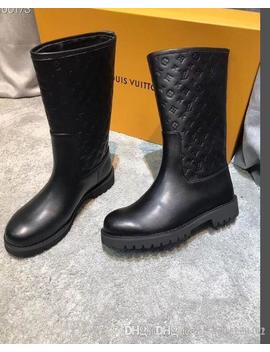 LuxuryLouisVuittonGucci 2019 K4 Large Size Boots Female Ankle Shoes Leather Boots Winter Cattle Muscle Bottom by D Hgate.Com