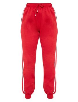 Red Double Side Stripe Joggers by Prettylittlething