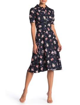 Printed Spread Collar Midi Dress by Alexia Admor