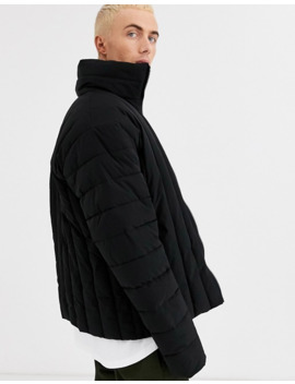 Asos Design Puffer Jacket With Funnel Neck In Black by Asos Design