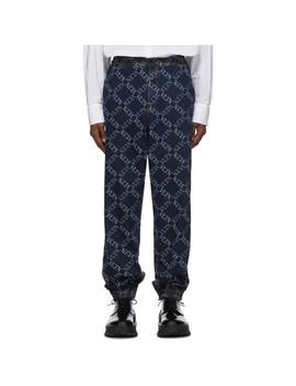 Navy Valentino Garavani 'vltn' Grid Jeans by Valentino