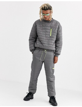 Collusion Puffer Sweatshirt In Gray by Collusion