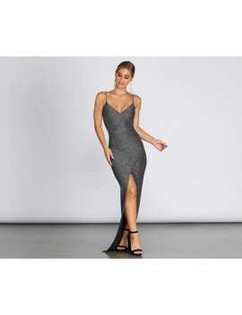 Cathy Formal Metallic Wrap Dress by Windsor